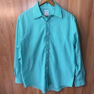 Brooks Brothers teal checkered button down.